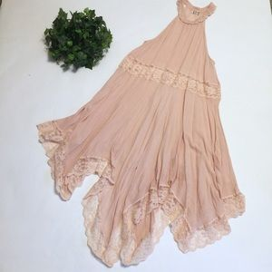 FREE PEOPLE lace pink nude dress  pointed hem